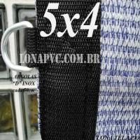 """Lona 5,0 x 4,0m Tela PEAD Premium Caminhão ExtraForte Prata/Azul : 90% de Sombreamento com argolas """"D"""" INOX a cada 50cm"""