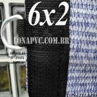 """Lona 6,0 x 2,0m Tela PEAD Premium Caminhão ExtraForte Prata/Azul : 90% de Sombreamento com argolas """"D"""" INOX a cada 50cm"""