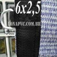Lona 6,0 x 2,5 Tela PEAD Premium Caminhão ExtraForte Prata/Azul + 30 metros de corda 8mm : 90% de Sombreamento