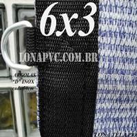 Lona 6,0 x 3,0m Tela PEAD Premium Caminhão ExtraForte Prata/Azul + 30 metros de corda 8mm : 90% de Sombreamento