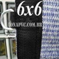 Lona 6,0 x 6,0m Tela PEAD Premium Caminhão ExtraForte Prata/Azul + 40 metros de corda 8mm : 90% de Sombreamento