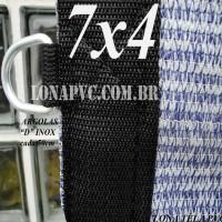 """Lona 7,0 x 4,0m Tela PEAD Premium Caminhão ExtraForte Prata/Azul : com 90% de Sombreamento com argolas """"D"""" INOX a cada 50cm"""