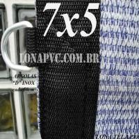 """Lona 7,0 x 5,0m Tela PEAD Premium Caminhão ExtraForte Prata/Azul : 90% de Sombreamento com argolas """"D"""" INOX a cada 50cm"""