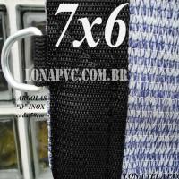 """Lona 7,0 x 6,0m Tela PEAD Premium Caminhão ExtraForte Prata/Azul : 90% de Sombreamento com argolas """"D"""" INOX a cada 50cm"""