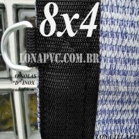 Lona 8,0 x 4,0m Tela PEAD Premium Caminhão ExtraForte Prata/Azul + 40 metros de corda 8mm com 90% de Sombreamento