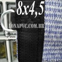 Lona 8,0 x 4,5m Tela PEAD Premium Caminhão ExtraForte Prata/Azul + 40 metros de corda 8mm com 90% de Sombreamento