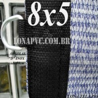 Lona 8,0 x 5,0m Tela PEAD Premium Caminhão ExtraForte Prata/Azul + 40 metros de corda 8mm com 90% de Sombreamento
