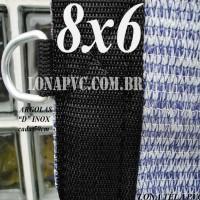 """Lona 8,0 x 6,0m Tela PEAD Premium Caminhão ExtraForte Prata/Azul 90% de Sombreamento com argolas """"D"""" INOX a cada 50cm"""