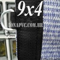 """Lona 9,0 x 4,0m Tela PEAD Premium Caminhão ExtraForte Prata/Azul 90% de Sombreamento com argolas """"D"""" INOX a cada 50cm"""