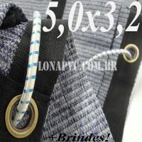 Lona 5,0 x 3,2m Tela PEAD Premium Caminhão ExtraForte Prata/Azul + 20 metros de corda 8mm : 90% de Sombreamento