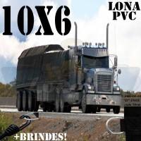 Lona: 10,0 x 6,0m de PVC Premium para Caminhão Truck Bitrem Vinil Emborrachada Preto Fosco Anti-Chamas + 22 LonaFlex Gancho 25cm + 22 LonaFlex Gancho 50cm