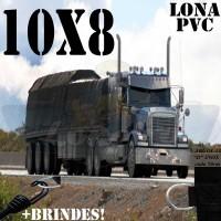 Lona: 10,0 x 8,0m de PVC para Caminhão Carreta Vinil Premium Preto Fosco Anti-Chamas + 25 LonaFlex Gancho 25cm + 25 LonaFlex Gancho 50cm