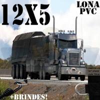 Lona: 12,0 x 5,0m de PVC Premium para Caminhão Carreta 2 Eixos Vinil Emborrachada Preto Fosco Anti-Chamas + 21 LonaFlex Gancho 25cm + 21 LonaFlex Gancho 50cm