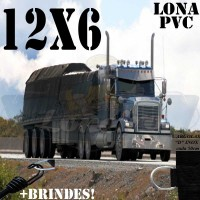 Lona: 12,0 x 6,0m de PVC Premium para Caminhão Carreta Vinil Emborrachada Preto Fosco Anti-Chamas + 25 LonaFlex Gancho 25cm + 25 LonaFlex Gancho 50cm