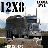 Lona: 12,0 x 8,0m de PVC Premium para Caminhão Vinil Emborrachada Preto Fosco Anti-Chamas + 25 LonaFlex Gancho 25cm + 25 LonaFlex Gancho 50cm
