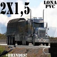 Lona 2,0 x 1,5m de PVC Premium para Caminhão Vinil Emborrachada Preto Fosco Anti-Chamas + 4 LonaFlex Gancho 25cm + 4 LonaFlex Gancho 50cm