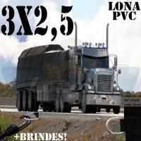 Lona 3,0 x 2,5m de PVC Premium para Caminhão Vinil Emborrachada Preto Fosco Anti-Chamas + 7 LonaFlex Gancho 25cm + 7 LonaFlex Gancho 50cm