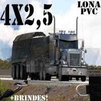 Lona 4,0 x 2,5m de PVC Premium para Caminhão Vinil Emborrachada Preto Fosco Anti-Chamas + 6 LonaFlex Gancho 25cm + 6 LonaFlex Gancho 50cm