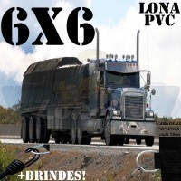 Lona 6,0 x 6,0m de PVC Premium para Caminhão Vinil Vinilona Emborrachada Preto Fosco Anti-Chamas + 16 LonaFlex Gancho 25cm + 16 LonaFlex Gancho 50cm