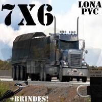 Lona 7,0 x 6,0m de PVC Premium para Caminhão Vinil Vinilona Emborrachada Preto Fosco Anti-Chamas + 13 LonaFlex Gancho 25cm + 13 LonaFlex Gancho 50cm