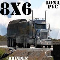 Lona 8,0 x 6,0m de PVC Premium para Caminhão Truck Vinil Vinilona Emborrachada Preto Fosco Anti-Chamas + 18 LonaFlex Gancho 25cm + 18 LonaFlex Gancho 50cm