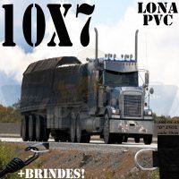 Lona: 10,0 x 7,0m de PVC para Caminhão Vinil Lonil Premium Preto Fosco Anti-Chamas + 25 LonaFlex Gancho 25cm + 25 LonaFlex Gancho 50cm