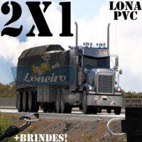 Lona 2,0 x 1,0m de PVC Premium para Caminhão Vinil Emborrachada Preto Fosco Anti-Chamas + 4 LonaFlex Gancho 25cm + 4 LonaFlex Gancho 50cm