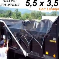 Lona 5,5 x 3,5m de PVC Laranja Hot Asphalt CBUQ Resiste a +200°C para Caminhão Vinil Anti-Chamas + 18 Extensores 40cm