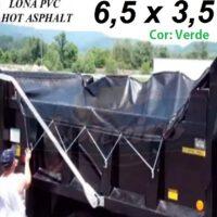 Lona 6,5 x 3,5m de PVC Verde Hot Asphalt CBUQ Resiste a +200°C para Caminhão Vinil Anti-Chamas + 20 Extensores 40cm