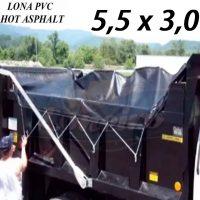 Lona 5,5 x 3,0m de PVC Hot Asphalt CBUQ Resiste a +200°C para Caminhão Vinil Preto Fosco Anti-Chamas + Extensores Lonaflex