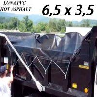 Lona 6,5 x 3,5m de PVC Hot Asphalt CBUQ Resiste a +200°C para Caminhão Vinil Preto Fosco Anti-Chamas + Extensores Lonaflex