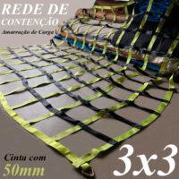 Cinta 50mm Rede Contenção 3 x 3 Metros Malha Poliéster 25x25cm Capacidade 15 TON Amarração Proteção Carga Rodoviária Caminhão Utilitários