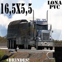 Lona: 16,5 x 5,5m de PVC Premium para Caminhão Vinil Vinilona Emborrachada Preto Fosco Anti-Chamas + 28 LonaFlex Gancho 25cm + 28 LonaFlex Gancho 50cm 1 ROW 0,75m
